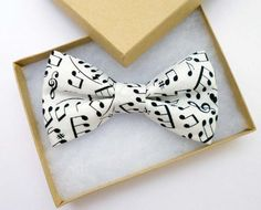 Music note bow tie - mens bow ties - black and white bow tie - pre tied adjustable or clip on bowtie - already tied mans bowtie