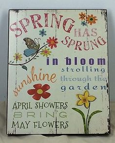 Garden Spring Happiness Sign Plaque Hanging Celebration Holiday | eBay