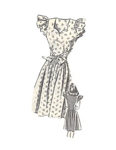 Vintage 1950s Mail Order 8030 Tie Around Ruffled Sleeve Dress Sewing Pattern Size 11 on Etsy, $13.23 AUD