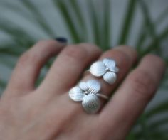 Two blossoms ringsterling silver flower adjustable by aifosjewels, $49.00