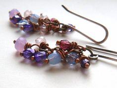 Beaded Cluster Earrings Soft Colors Sterling by TamiLopezDesigns, $28.00