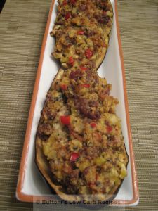 We just love eggplant and I like to fix them stuffed once in awhile.  Tonight I used pork breakfast sausage as the meat, rather than my usual seafood treatment of this wonderful vegetable.  This is…