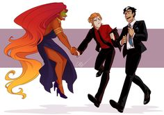 """Going to a fancy shindig for fun? I'm not even sure, but dressed up Kori and her boys for a night out on the town, and they're all so lovely! """" I need to draw them wearing fancy clothes. Marvel Dc Comics, Marvel Memes, Teen Titans, Redhood And The Outlaws, Red Hood Jason Todd, Robin Dc, Roy Harper, Dc Memes, Detective Comics"""