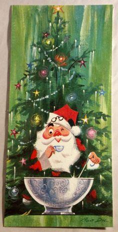 Santa Schnockered Punch Bowl Xmas Tree 1960's Vintage Christmas Greeting Card | Collectibles, Paper, Vintage Greeting Cards | eBay!