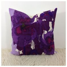 Cushion Cover Vtg Heals Fabric  Pansies By Howard Carter 20  x 20