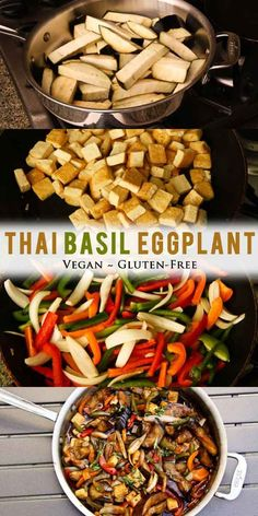 This easy Thai Basil Eggplant dish is made in one pot, easy sauce, no frying necessary, and shows you how to cook the most perfect eggplant! Make this vegan, gluten-free Thai dish at home over a bed of cooked brown rice or quinoa! Vegan Dinner Recipes, Whole Food Recipes, Vegetarian Recipes, Cooking Recipes, Healthy Recipes, Tofu Recipes, Vegan Eggplant Recipes, Thai Basil Eggplant Recipe, Aubergine Recipe