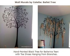 How adorable! Create a Ballet Tree Mural out of old pointe shoes: