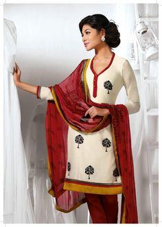 Cream Cotton Silk Resham Work Churidar Suit 37862