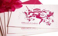 Faire part idylle bilingue franco-grec Mariage creation sur mesure /// Wedding invitation by http://www.latelierdelsa.com/fr/6-faire-part-mariage-sur-mesure