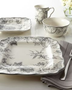 16-Piece Adelaide Gray Dinnerware Service at Horchow.