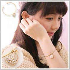 Heart-Chram Bangle Gold - One Size