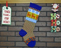 Anyone would be excited to look for Christmas goodies in this colorful, hand knit Christmas stocking.. I knit it using a traditional Fair Isle design which features Orange Reindeer and Teal Pinwheels as well as a fun zigzag pattern in Pink and Green. The cuff, heel and toe are all knit in Royal Blue. The jolly old fellow will find plenty of space for lovely little gifts and trinkets! FREE Personalization!! Your stocking can be personalized on the cuff. For best results 6 - 7 letter names…