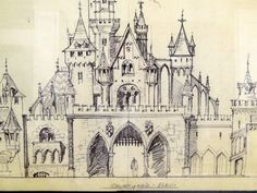 "Disneyland Photostat of Original Concept Art ""Sleeping Beauty Castle Courtyard""-Courtyard Elav. Walt Disney Imagineering, Walt Disney Co, Old Disney, Downtown Disney, Disney Fun, Disney Parks, Disney Sketches, Disney Drawings, Sleeping Beauty Castle"