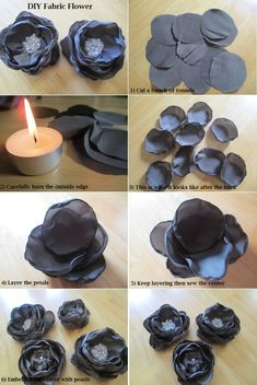 MATERIALS  - satin fabric  - scissors  - tealight candle  - needle & thread  - hot glue gun & glue sticks  - embellishments