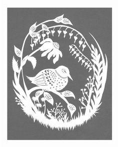 Night Bird Rests  8 X 10 inch Cut Paper Art Print by ruralpearl, $20.00