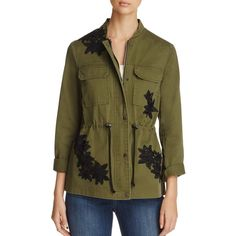 Vero Moda Rhapsody Army Jacket (1,560 MXN) ❤ liked on Polyvore featuring outerwear, jackets, ivy green, floral jacket, flower print jacket, military field jacket, brown jacket and army jacket
