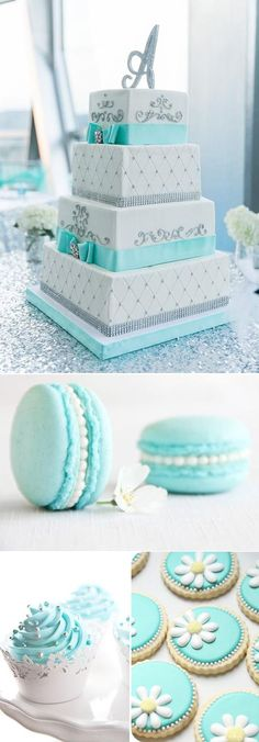 Awesome Ideas For Your Tiffany Blue Themed Wedding tiffany blue wedding cakes and cookies Tiffany Blue Weddings, Tiffany Theme, Tiffany Party, Tiffany Wedding Cakes, Tiffany Blue Cakes, Tiffany Blue Dress, Tiffany Sweet 16, Quince Cakes, Quinceanera Cakes