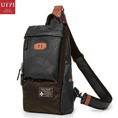UIYI Brand Design PU Leather Handbag Men Single Crossbody Sling Messenger  Bag Chest Pack Bolsa Casual f4b53ed7ce1ba
