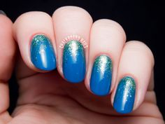 Bright, glossy polish layered with a shimmery green is a match made in heaven. See more on Chalkboard Nails »  - GoodHousekeeping.com