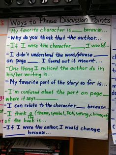 Anchor Chart: Ways to Phrase Discussion Points