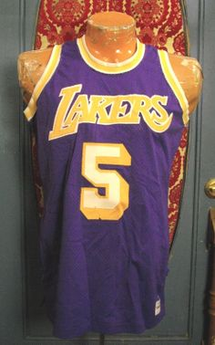 8360855e999 Vintage LOS ANGELES LAKERS Jersey Jim McMillian 1973 Sand Knit NBA ORIGINAL