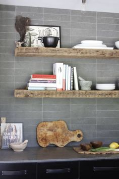 tile - Give Your Home A Charming Rustic Vibe With This Easy Upgrade Dad's Kitchen, Kitchen Shelves, Kitchen Design, Kitchen Ideas, Reclaimed Barn Wood, Weathered Wood, Barn Wood Projects, Wood Interiors, Wood Beams