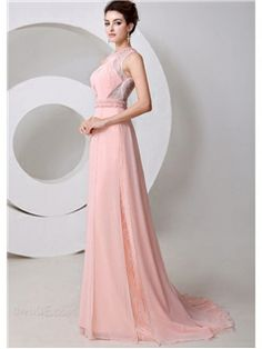 New Style Graceful Jewel Neck Pearls A Line Floor Length Evening Dress