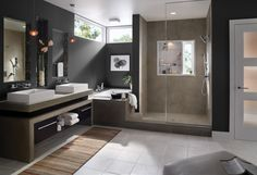How to Plan a Bathroom Renovation: Gorgeous Modern Clean Bathroom Trends 2015 With Double Sink On Vanity And Frameless Fashion Mirror Also Shower Glass Divider Along With Black Paint Walls Decorating ~ workdon.com Bathroom Design Inspiration