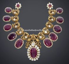Nakshi work peacock floral necklace with rubies by RC Jewellers, Temple jewellery South Indian Bridal Jewellery, Indian Jewelry, Wedding Jewelry, Ruby Jewelry, Jewelery, Gold Jewelry, Custom Jewelry, Handmade Jewelry, Antique Necklace