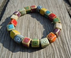 Ceramic Beaded Bracelet by LuveJewelry on Etsy