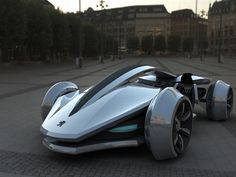 The Peugeot Epine Hybrid Concept Consumer Racing Car (in all its slick edged glory).