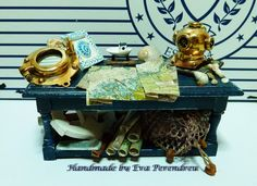 Miniature nautical Table with brass diving helmet.... Beach dollhouse