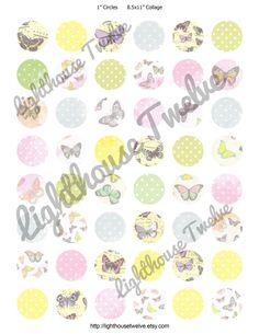 "1"" Circle Bottlecap images Butterflies & Polka Dots"