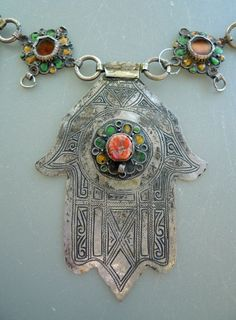 moroccan hamsa - khamsa- necklace