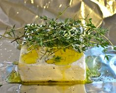 Herbal Grilled Feta Cheese - Fresh herbs and feta hot off the grill is a great appetizer or side dish.
