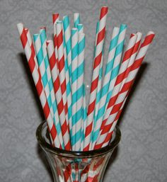 50  long soda bottle  Aqua and Red mixed striped by isakayboutique, $9.00