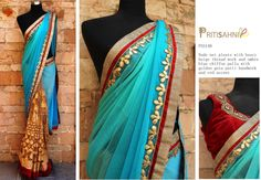 Designed by Priti Sahni Saree Code : PSS148 Saree in Nude net pleats with heavy beige thread work and ombre blue chiffon pallu with golden gota patti handwork and red accent  To get more details, please write to preti.designs@gmail.com