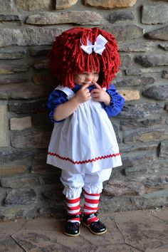 Raggedy Ann  Costume Babysize  with wig, and socks by MackAbooLLC on Etsy