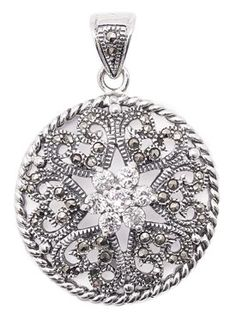 Hearts and Flower Marcasite Sterling Silver Pendant