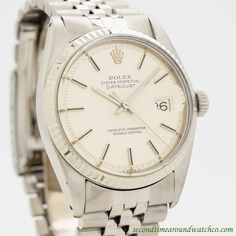 1977 Vintage Rolex Datejust Ref. 1601 14k White Gold & Stainless Steel Watch