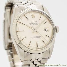 1977 Vintage Rolex Datejust Ref. 1601 14k White Gold & Stainless Steel Watch