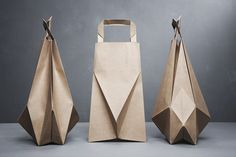 Ilvy Jacobs 'foldbags' photographer: igor kruter by pinching and folding a normal brown paper bag into a new silhouette, 'foldbags' was designed with the intention of giving a new view on the commonly disposed item.