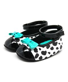 Look at this Stepping Stones Black Dalmatian Ankle Strap Flat on #zulily today!