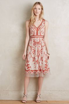Alicante Dress in Red Motif (Anthropologie)