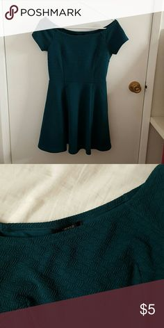 Emerald Green Off the Shoulder Skater Dress A cute skater dress in a rich royal green that can be worn off the shoulder or like a boat neck. Forever 21 Dresses Mini