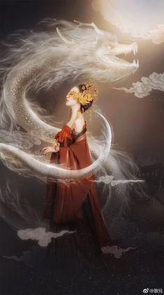By Artist Unknown. Japon Illustration, Susanoo, Chinese Drawings, China Art, Dragon Art, Fantasy Artwork, Geisha, Fantasy Characters, Japanese Art