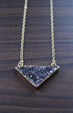 SALE Black Druzy Triangle Necklace Gold Filled by friedasophie
