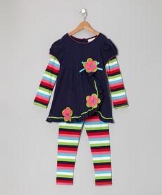 Take a look at this Navy & Pink Flower Layered Tunic & Leggings - Infant, Toddler & Girls on zulily today!