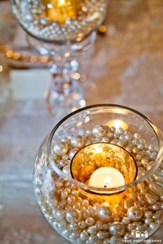 I love these simple pearl ideas for the bottom of the vases!