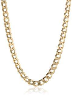 "Klassics Men's 10k Yellow Gold 5.5mm Semi Hollow Diamond-Cut Curb Chain, 22"" - Listing price: $1,820.00 Now: $560.76"
